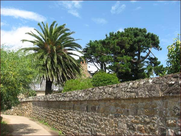 rue avec gros mur de pierre