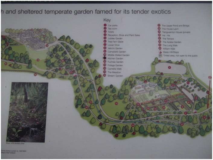 Le jardin de Trengwainton en Cornwall  ,plan du jardin .