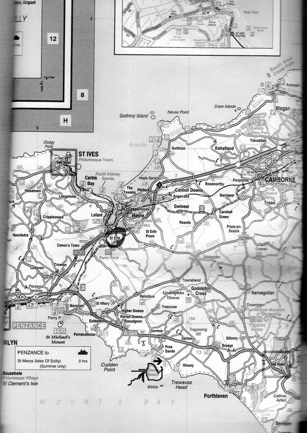 carte Cornouailles