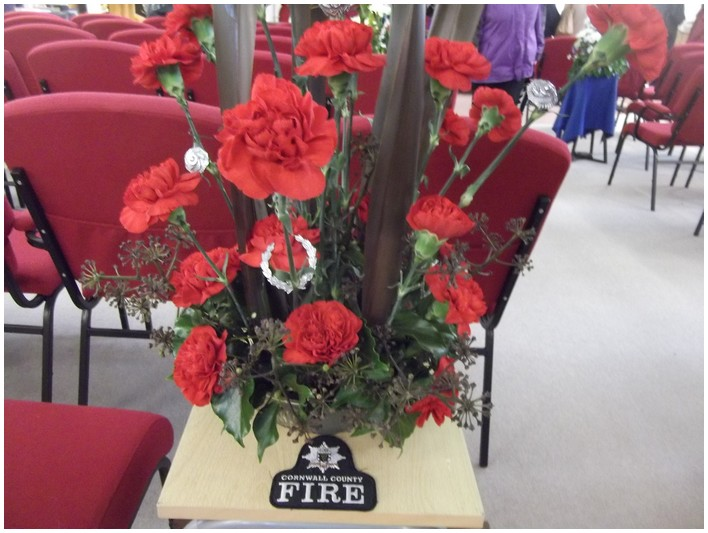 Bouquet par les pompiers